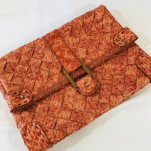 Jessica Simpson Woven Snake Skin Coral Clutch Bag
